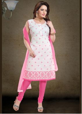 Pink Chanderi Embroidered Readymade Suit