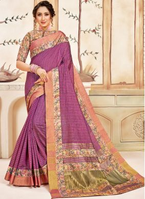 Pink Cotton Ceremonial Classic Designer Saree