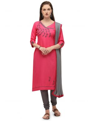 Pink Cotton Churidar Designer Suit