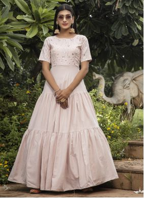 Pink Cotton Designer Gown