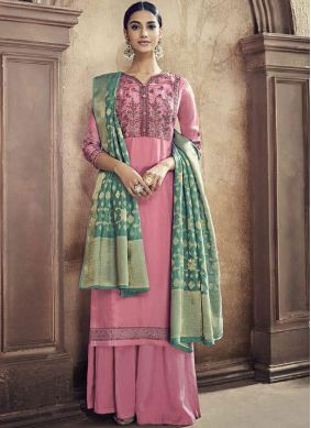 Pink Cotton Silk Embroidered Designer Palazzo Suit