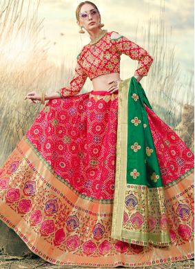 Pink Embroidered A Line Lehenga Choli