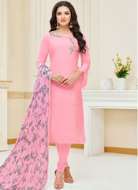 Pink Embroidered Chanderi Cotton Churidar Suit