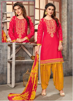 Pink Embroidered Cotton Designer Patiala Suit