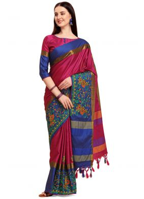 Pink Embroidered Cotton Silk Classic Saree