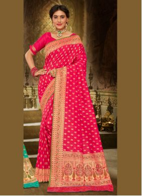Pink Embroidered Festival Trendy Saree