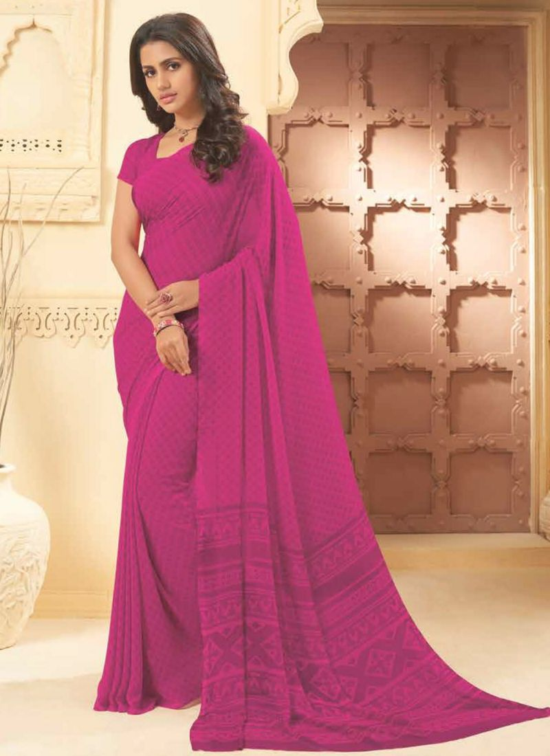 Pink Embroidered Georgette Casual Saree