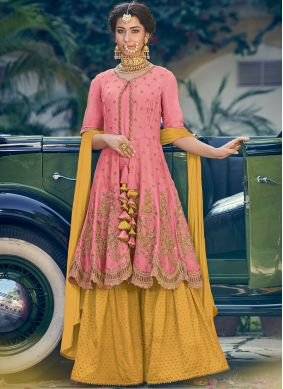 Pink Embroidered Georgette Designer Palazzo Salwar Suit