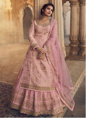Pink Embroidered Jacquard Long Choli Lehenga