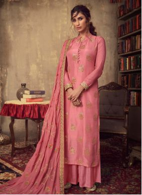 Pink Embroidered Reception Designer Palazzo Salwar Suit