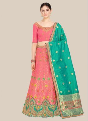 Pink Embroidered Reception Lehenga Choli
