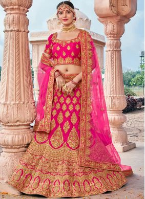 Pink Embroidered Silk Designer Lehenga Choli