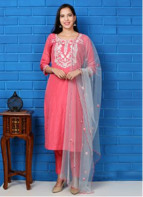 Pink Embroidered Silk Readymade Suit