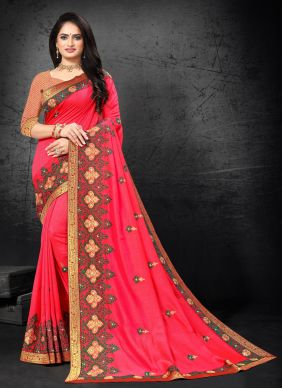 Pink Embroidered Silk Traditional Saree