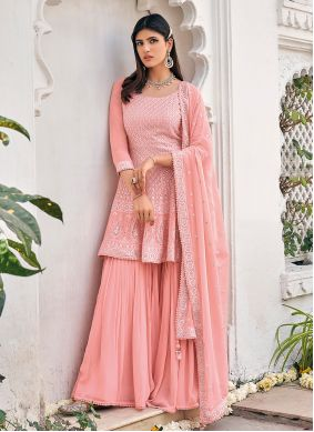 Pink Embroidered Viscose Readymade Suit