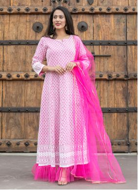 Pink Fancy Cotton Readymade Suit