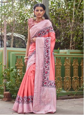 Pink Fancy Fabric Digital Print Traditional Saree