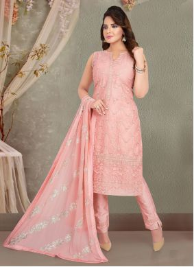 Pink Fancy Organza Readymade Suit