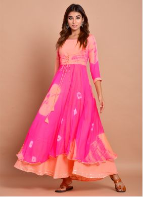 Pink Faux Chiffon Readymade Designer Gown
