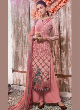 Pink Faux Crepe Abstract Print Designer Pakistani Suit