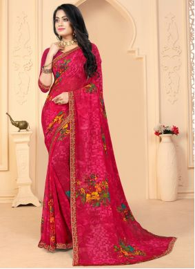 Pink Faux Georgette Abstract Printed Saree