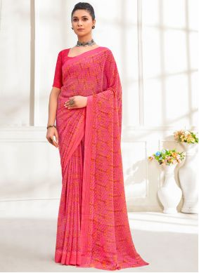 Pink Faux Georgette Festival Printed Saree