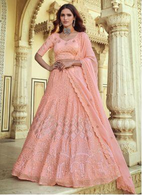 Pink Faux Georgette Sequins Lehenga Choli