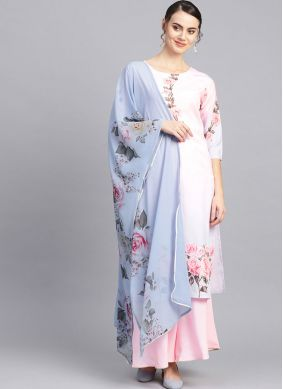 Pink Festival Faux Crepe Readymade Suit