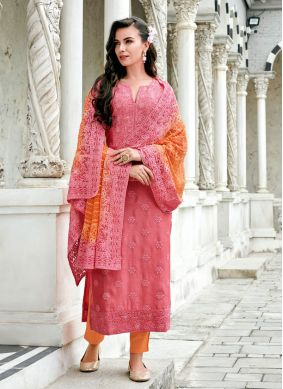 Pink Festival Georgette Straight Suit