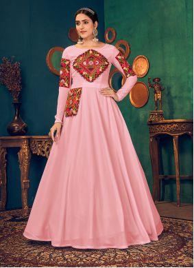 Pink Floor Length Georgette Gown
