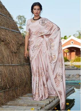 Pink Foil Print Party Classic Saree