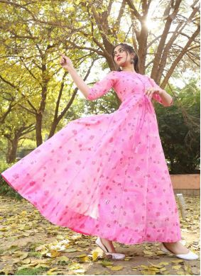 Pink Foil Print Readymade Gown