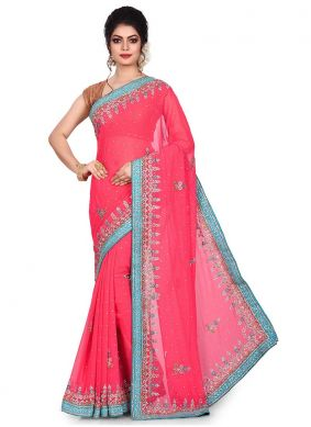 Pink Georgette Embroidered Designer Traditional Saree