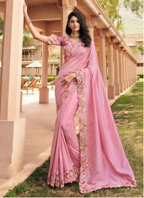 Pink Georgette Party Classic Saree