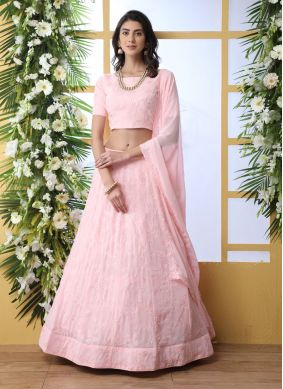 Pink Georgette Thread Lehenga Choli