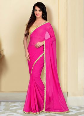 Pink Lace Georgette Classic Saree