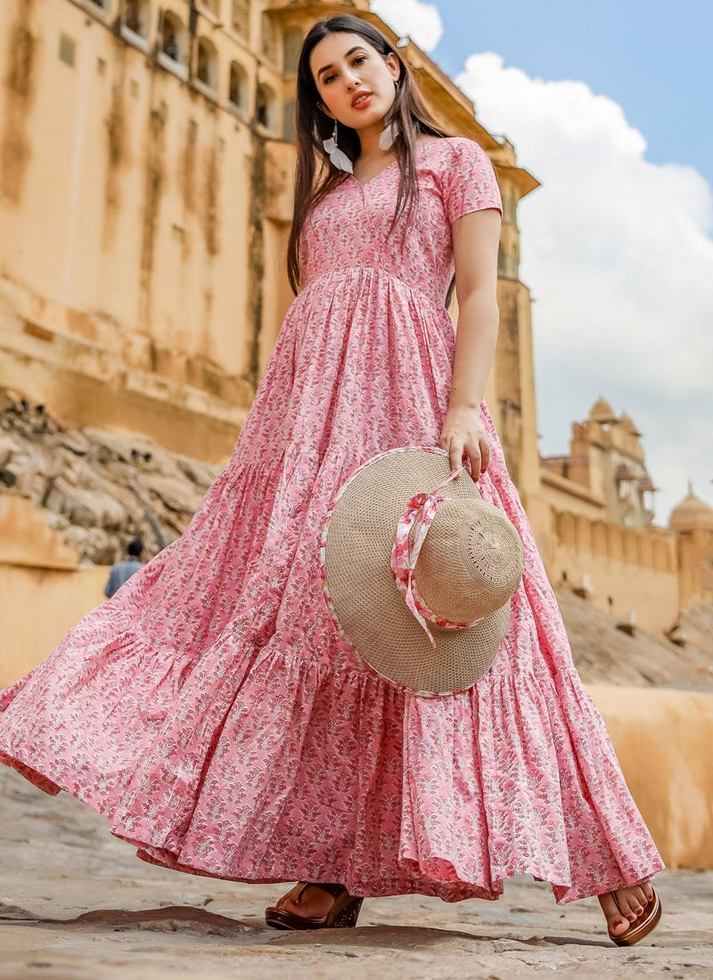Pink Muslin Readymade Gown