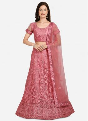 Pink Net Embroidered A Line Lehenga Choli