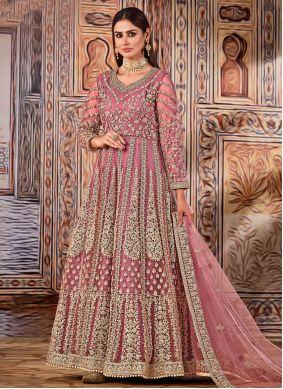 Pink Net Floor Length Designer Suit