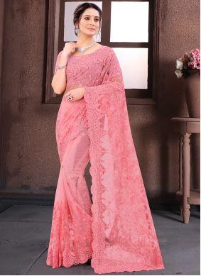 Pink Net Reception Classic Saree