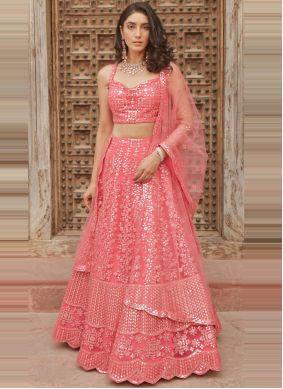 Pink Organza Embroidered Lehenga Choli