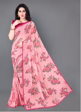 Pink Party Faux Georgette Trendy Saree