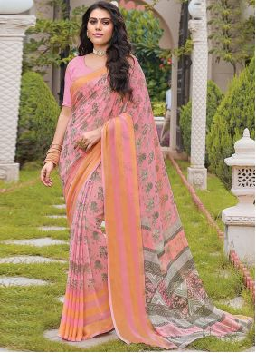 Pink Party Georgette Trendy Saree