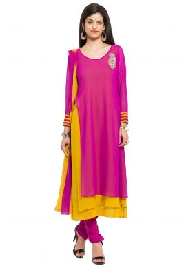 Pink Patchwork Readymade Churidar Salwar Kameez
