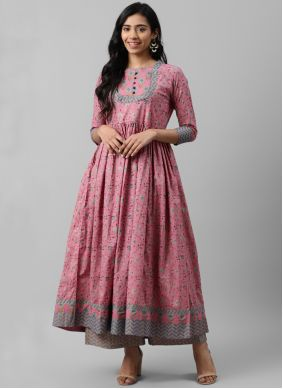 Pink Printed Cotton Bollywood Salwar Kameez