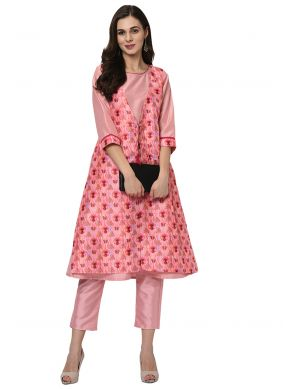 Pink Printed Poly Silk Party Wear Kurti