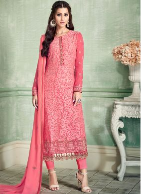 Pink Pure Georgette Embroidered Pant Style Suit