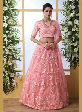 Pink Reception Net Lehenga Choli