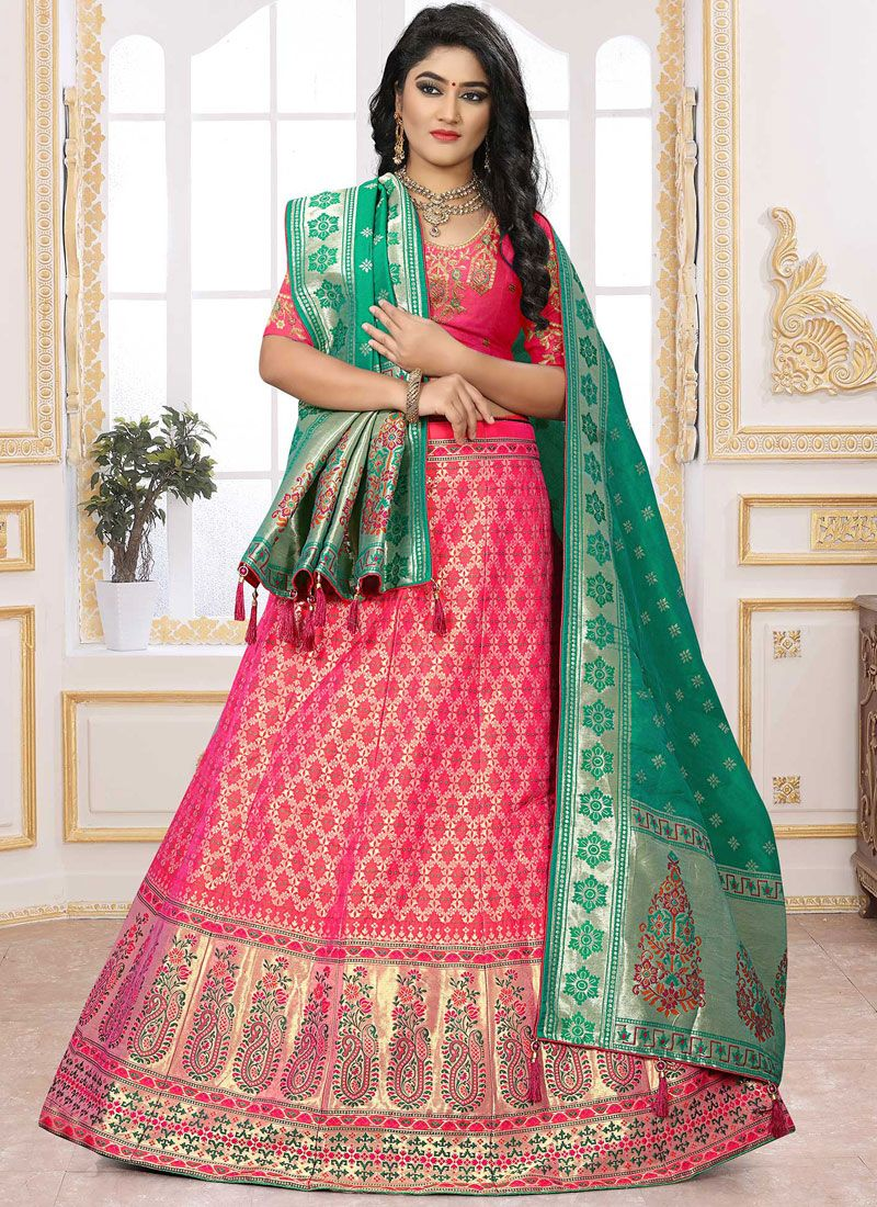 Pink Reception Silk Lehenga Choli