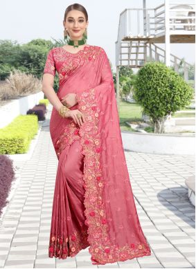 Pink Resham Silk Traditional Saree